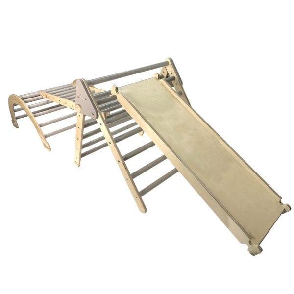 Ligneus PLAY Junior Pikler Triangle SET Gretton Grey with Slide up