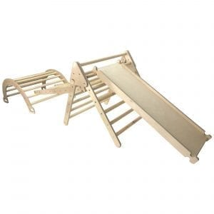 Ligneus PLAY Junior Pikler Triangle SET Natural with Slide up