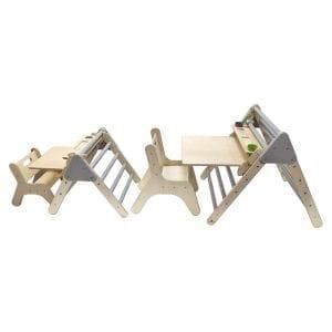 Ligneus Play Pikler Desk Sets side by side