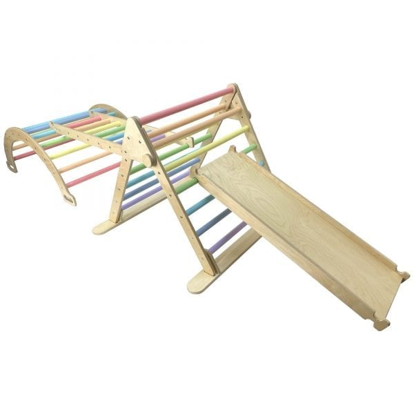 Junior Ligneus PLAY Pikler Triangle Set Pastel Rainbow with slide up