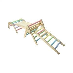 Nursery Ligneus PLAY Pikler Triangle Set Pastel Rainbow with ladder up