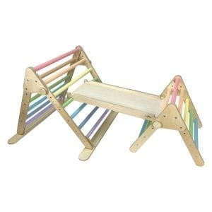 Pastel Rainbow Triangles linked with slide