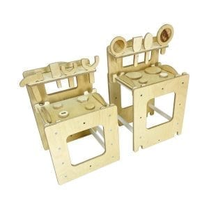 Ligneus Learning Tower Play workbench and Play Kitchen