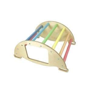 Nursery Ligneus PLAY Pikler multifunctional 4 in 1 Climbing Rocker Arch Pastel Rainbow