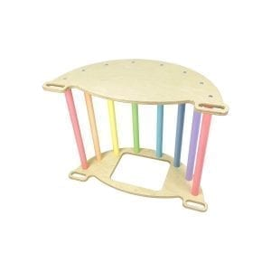 Nursery Ligneus PLAY Pikler multifunctional 4 in 1 Climbing Rocker Arch Pastel Rainbow as play table