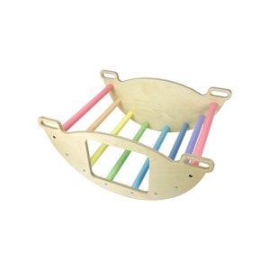 Nursery Ligneus PLAY Pikler multifunctional 4 in 1 Climbing Rocker Arch Pastel Rainbow as rocker