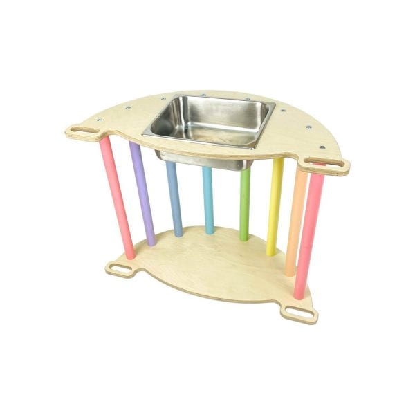 Nursery Ligneus PLAY Pikler multifunctional 4 in 1 Climbing Rocker Arch Pastel Rainbow as sensory tray table