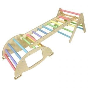 Nursery Ligneus PLAY Pikler multifunctional 4 in 1 Climbing Rocker Arch Pastel Rainbow with ladder and junior triangle